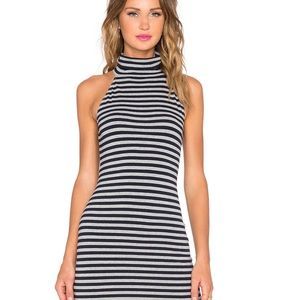 Stripe turtleneck sleeveless dress
